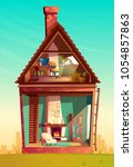 vector house interior in... | Shutterstock .eps vector #1054857863