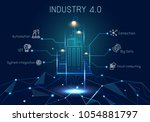 industry 4.0 with hologram...   Shutterstock .eps vector #1054881797