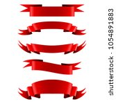 collection of red empty ribbon... | Shutterstock .eps vector #1054891883