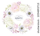 vector botanical wreath with... | Shutterstock .eps vector #1054893713