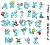 Alphabet with fish and bubbles. Funny cartoon and vector isolated letters. - stock vector