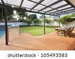 modern backyard with swimming... | Shutterstock . vector #105493583