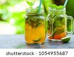 lemonade  ice tea  infused... | Shutterstock . vector #1054955687