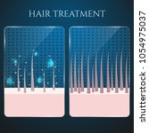 healthy and damaged hair under...   Shutterstock .eps vector #1054975037