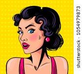 curious girl.  emotion. comics. ... | Shutterstock .eps vector #1054979873
