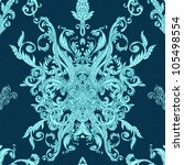 Seamless vintage background blue baroque pattern - stock vector