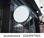 black round signboard on the... | Shutterstock . vector #1054997903