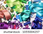colored ribbons of buttons and...