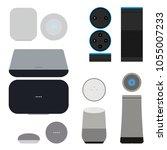 set of smart speakers with... | Shutterstock .eps vector #1055007233
