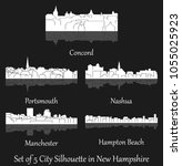 set of 5 city silhouette in new ... | Shutterstock .eps vector #1055025923