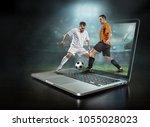 caucassian soccer players in...   Shutterstock . vector #1055028023