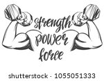 arm  bicep  strong hand holding ... | Shutterstock .eps vector #1055051333