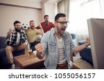 group of friends watching... | Shutterstock . vector #1055056157