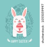 icon easter bunny holding a... | Shutterstock .eps vector #1055059997