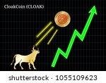gold bull  throwing up... | Shutterstock .eps vector #1055109623