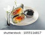 sushi or poke burrito with nori ...   Shutterstock . vector #1055116817