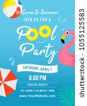 pool party invitation vector... | Shutterstock .eps vector #1055125583