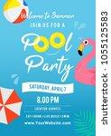 pool party invitation vector... | Shutterstock .eps vector #1055125583