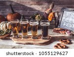 craft beer flight  halloween... | Shutterstock . vector #1055129627