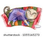Stock photo watercolor illustration sleeping cat 1055165273