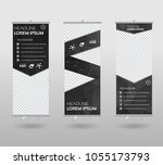red roll up banner template and ... | Shutterstock .eps vector #1055173793