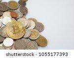 bitcoin on thai baht coins   Shutterstock . vector #1055177393