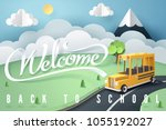 paper art of school bus running ... | Shutterstock .eps vector #1055192027