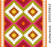 Seamless Pattern Turkish Carpet White Red Green Olive Khaki Colorful Patchwork Mosaic Oriental Kilim Rug