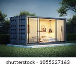 container house exterior  3d... | Shutterstock . vector #1055227163