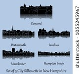 set of 5 city silhouette in new ... | Shutterstock .eps vector #1055245967