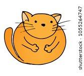 Stock vector vector illustration of a funny fat cat cartoon cute cat hand drawn thick cat 1055264747