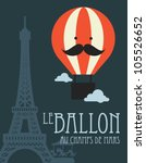 hot air balloon in paris vector/illustration - stock vector