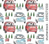 seamless pattern with old cars. ... | Shutterstock . vector #1055271533