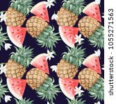 seamless pattern with... | Shutterstock . vector #1055271563