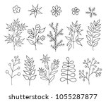 a set of hand drawn doodle... | Shutterstock .eps vector #1055287877