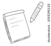 vector set of notebook and... | Shutterstock .eps vector #1055290133