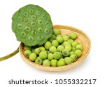 lotus seeds in basket isolated... | Shutterstock . vector #1055332217