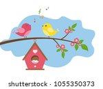 singing birds on branch. spring ... | Shutterstock .eps vector #1055350373