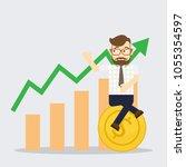success business man sit on... | Shutterstock .eps vector #1055354597