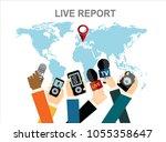 journalism concept vector... | Shutterstock .eps vector #1055358647