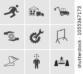set of 9 simple editable icons... | Shutterstock .eps vector #1055367173