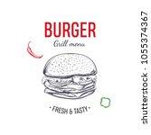 burger illustration for... | Shutterstock .eps vector #1055374367