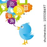 blue bird with icons over white ... | Shutterstock .eps vector #105538697