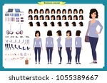 young woman  casual clothes.... | Shutterstock .eps vector #1055389667