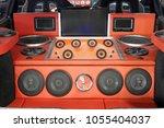 car powerful audio system custom | Shutterstock . vector #1055404037
