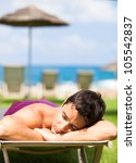 on vacation  young man... | Shutterstock . vector #105542837