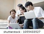 group of happy teen high school ...   Shutterstock . vector #1055433527