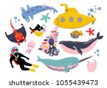 underwater creatures and... | Shutterstock .eps vector #1055439473