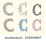 doodle hand drawn alphabet in... | Shutterstock .eps vector #105544847