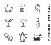 drinks doodle set. hand drawn... | Shutterstock .eps vector #1055451587